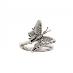 Ring precious stones and gold Butterfly