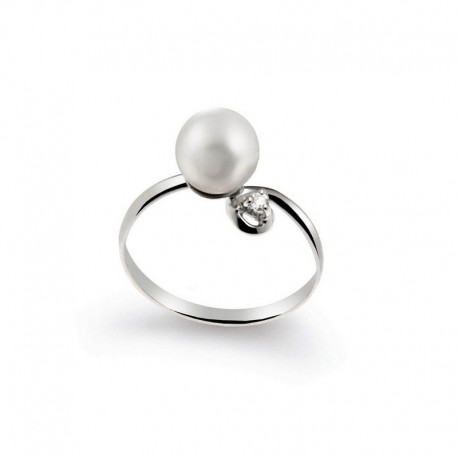 Ring Gold Diamant and Pearl Cultivated Japan-
