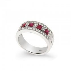 Bague Or Diamant et Rubis