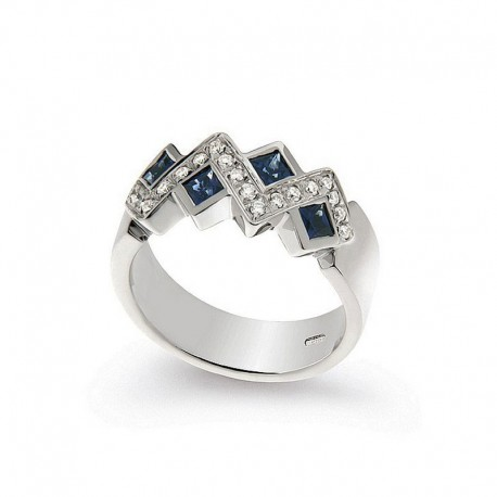 Anillo de oro Diamante y Zafiro