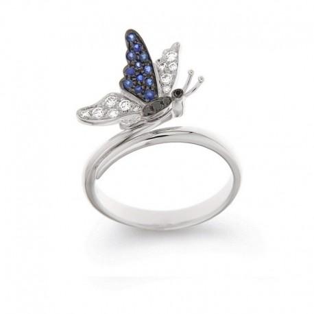 Ring Edelsteine und Gold Schmetterling