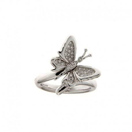 Bague Papillon d'or & pierres précieuses