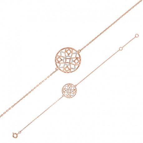 Bracelet argent avec symboles bicolores 925/1000