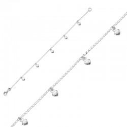 Bracelet avec pendants coeur 925/1000