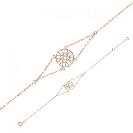 Pulsera de plata con símbolos de dos colores 925/1000