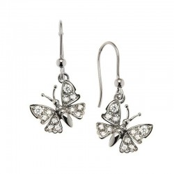 Butterfly earrings in sterling silver and cubic zirconia