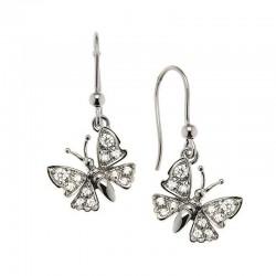 mariposa pendientes de la plata esterlina 925 y circonio cúbico