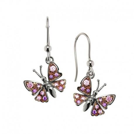 Boucles d'oreilles papillon en argent 925 et zircone cubique
