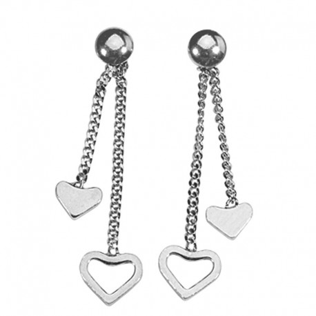 Earrings silver thread 925, 2 hearts