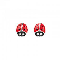 Boucles d'oreilles puce coccinelle argent 925