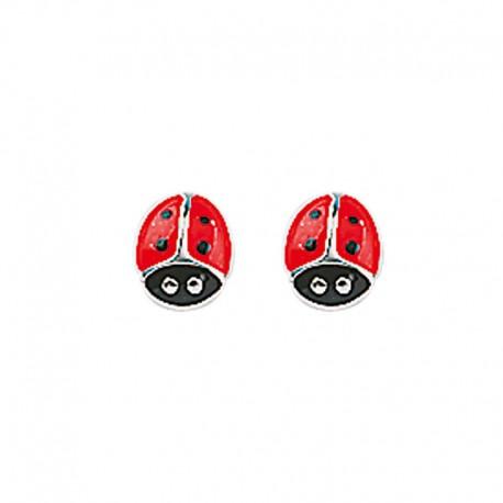 Earrings puce ladybird silver 925
