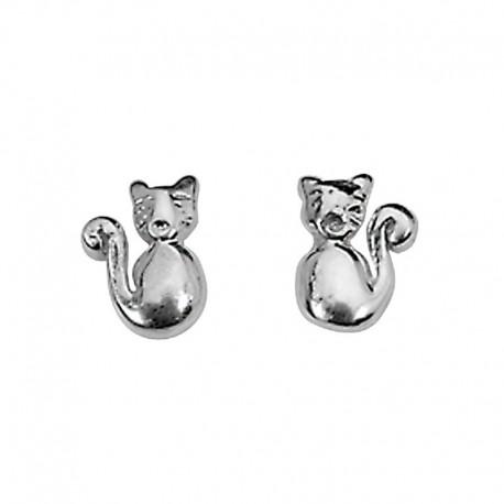 Boucles d'oreilles chat en argent 925