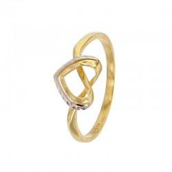 Bague coeur en or 375/1000 jaune avec contour en or blanc