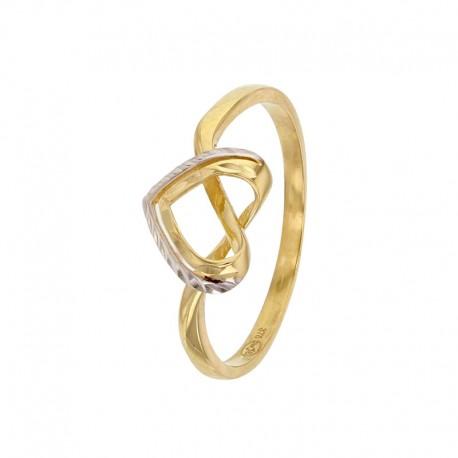 Anillo de corazón de oro amarillo 375/1000 con un contorno de oro blanco