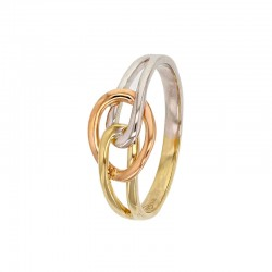 375/1000 yellow gold, pink and white interlaced ring