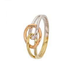 Anillo entrelazado 375/1000 oro amarillo, rosa y blanco