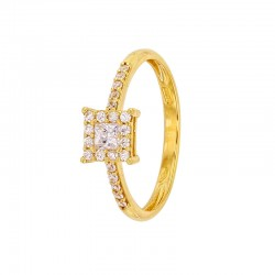 375/1000 Gold Ring with Square Zirconium Oxide