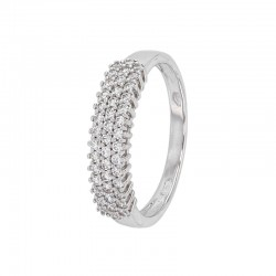 Ring in white gold 375/1000 set with 3 rows of zirconium oxides
