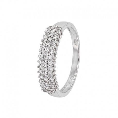 Ring aus Weißgold 375/1000 mit 3 Reihen Zirkonoxiden