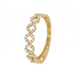 Gold ring 375/1000 with double row of oxides