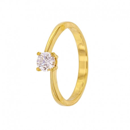 Gold ring 375/1000 with zirconium oxide in 4-claw set