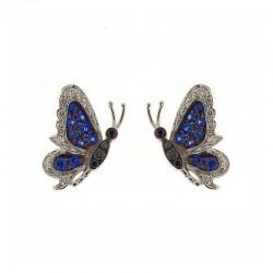 Paire de papillons en or avec pierres précieuses