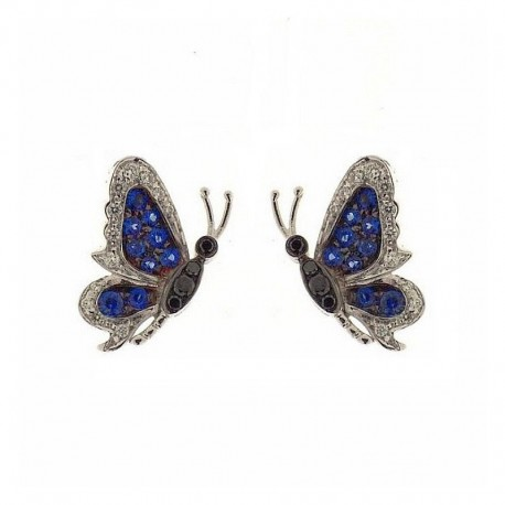 Pair of gold butterflies with precious stones