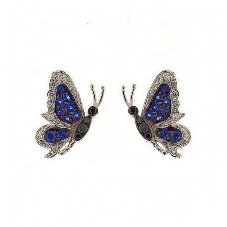 Par de mariposas doradas con piedras preciosas