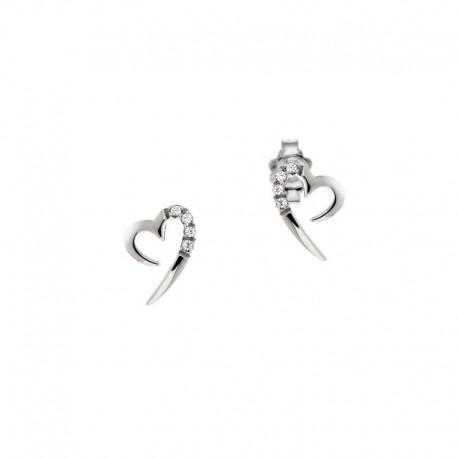 Gold Herz Ohrringe mit Diamant