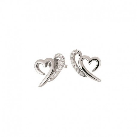 Boucles d'oreilles coeur en or avec diamant