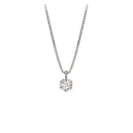 Collier ras du cou en or et chaîne vénitienne 7 diamants à effet lumineux