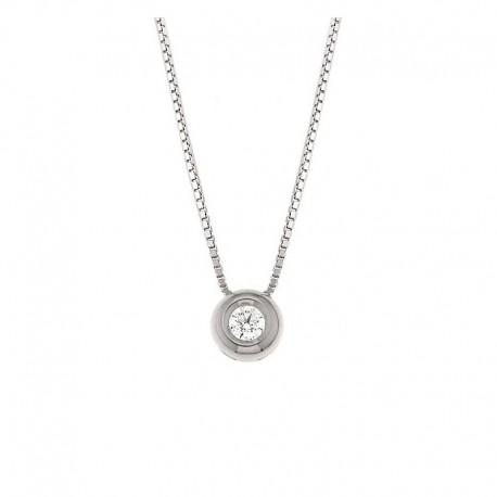 Gold Point Light Choker Halskette mit Diamant im Anhänger