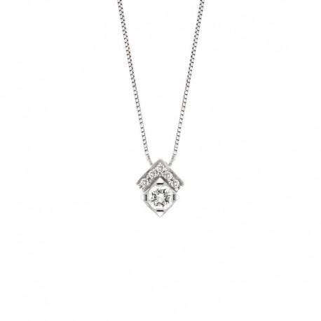 Collier ras du cou en or avec diamant serti de griffes et pavé