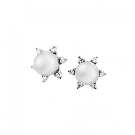 Paar Gold Ohrringe mit Diamanten und Perlen kultiviert Japan