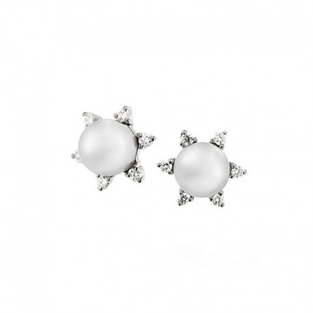 Paire de boucles d'oreilles en or avec diamants et perles cultivées au Japon