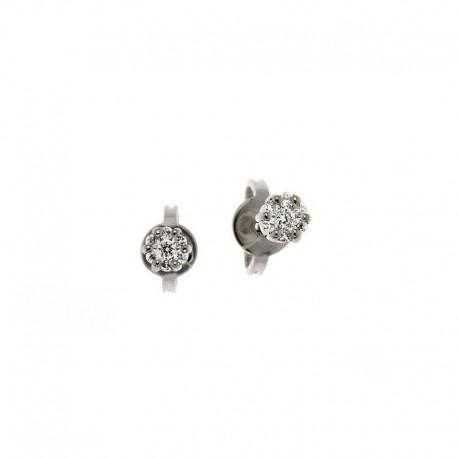 Boucles d'oreilles en or blanc, jaune ou rose avec 7 diamants de point lumineux