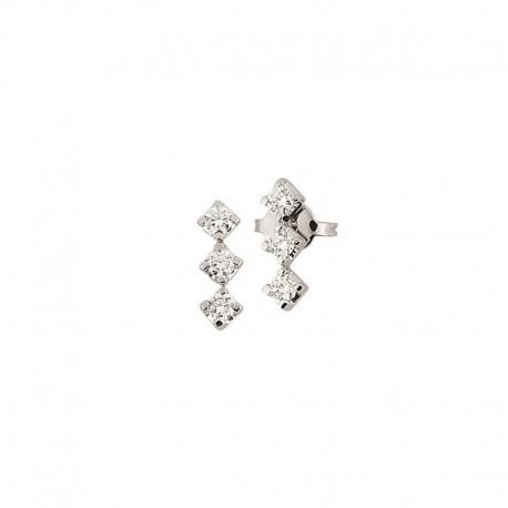 Par de pendientes de trilogía de oro con diamantes