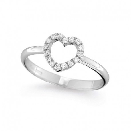 Bague coeur or et diamants