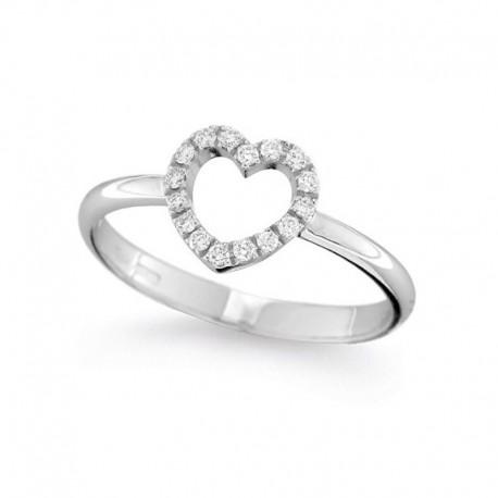 Herzring aus Gold und Diamant