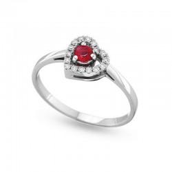 Herzring mit Diamanten und Rubin