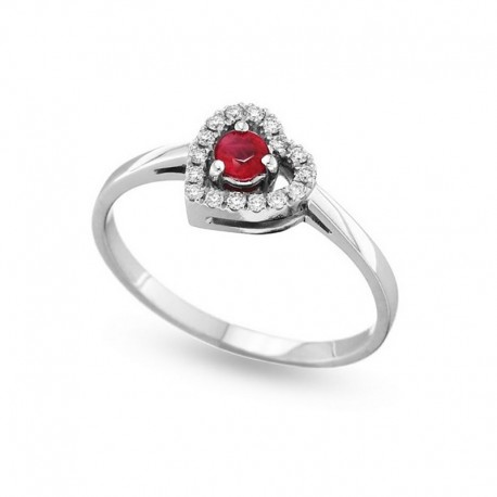 Anillo de corazón con diamantes y rubí