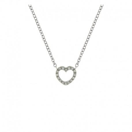 Collier en or coeur avec diamants et chaine 42 cm