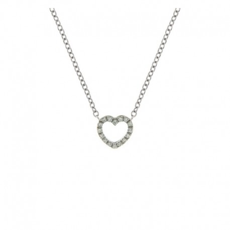 Gold heart necklace with diamonds and chain 42 cm