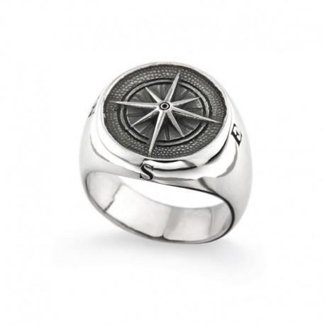 Ring aus 925er Silber mit Kompassrose