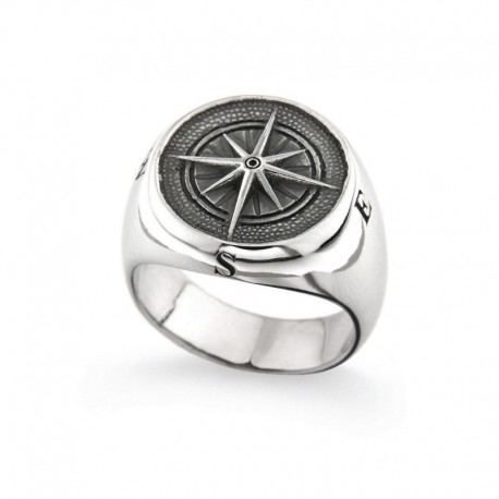 Silver 925 ring with compass rose