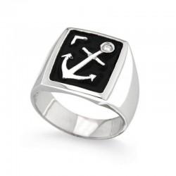 Ring aus 925 Sterling Silber und Zirkonia mit Marine-Anker