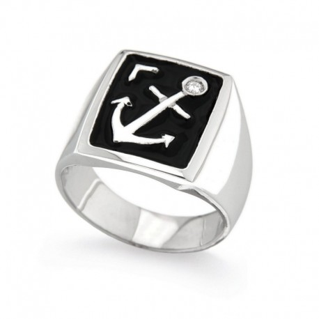 925 Sterling Silver and Zirconia Ring with Marine Anchor