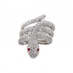 Ring aus 18 Karat Gold in Form von Schlangen mit Diamanten und Rubinen
