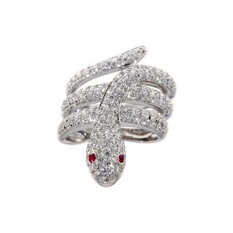Anillo de oro de 18 quilates en forma de serpientes, con diamantes y rubíes.