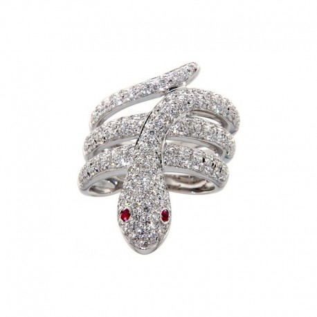 Bague Or 18K en forme de serpents, avec diamants et rubis
